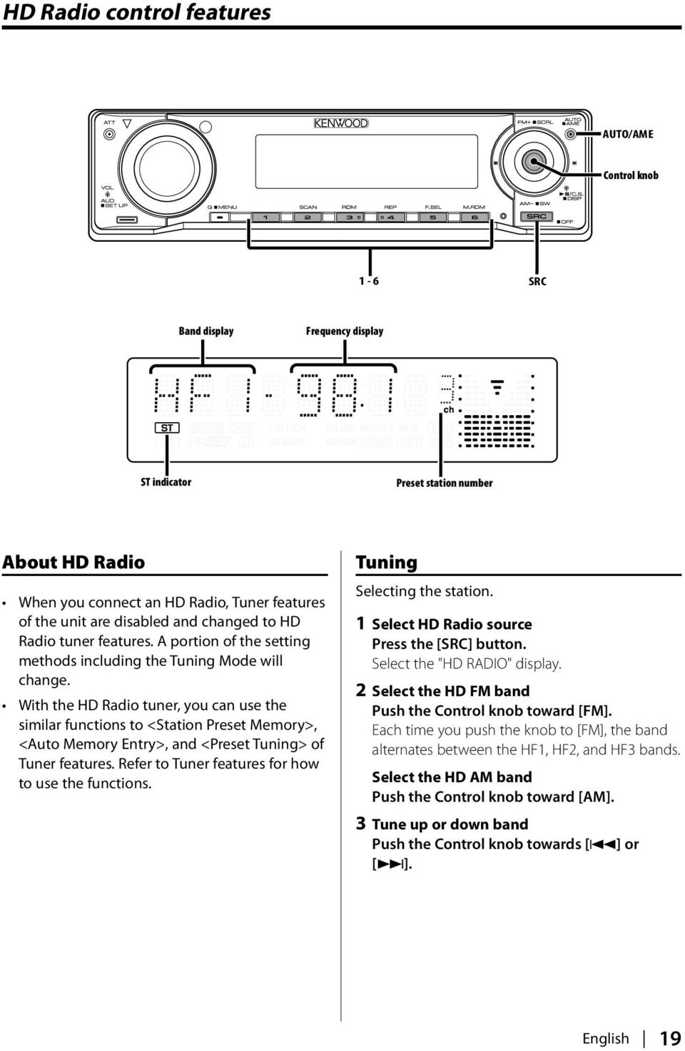With the HD Radio tuner, you can use the similar functions to <Station Preset Memory>, <Auto Memory Entry>, and <Preset Tuning> of Tuner features. Refer to Tuner features for how to use the functions.