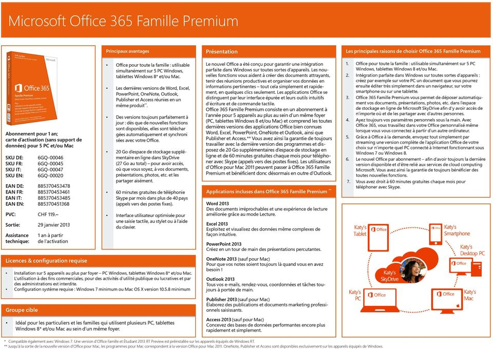 1 an à partir Office pour toute la famille : utilisable simultanément sur 5 PC Windows, tablettes Windows 8* et/ou Mac.