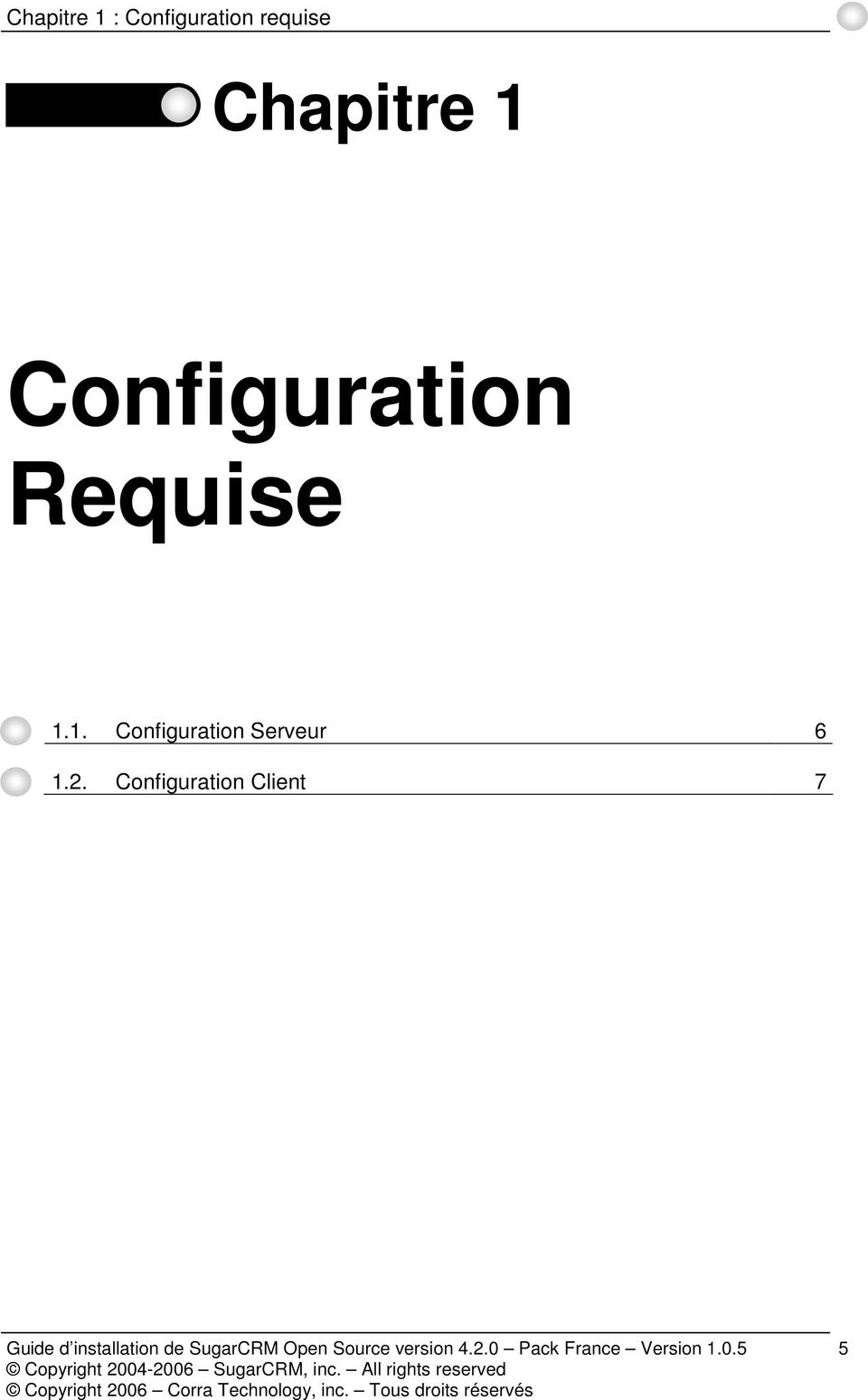 2. Configuration Client 7 Guide d installation de