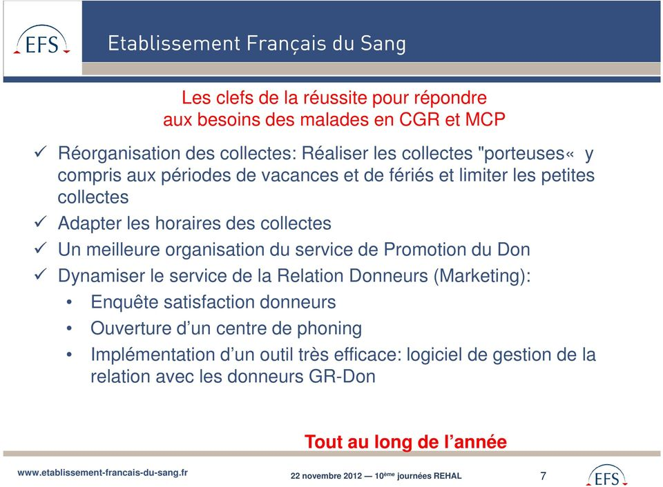 service de Promotion du Don Dynamiser le service de la Relation Donneurs (Marketing): Enquête satisfaction donneurs Ouverture d un centre de phoning