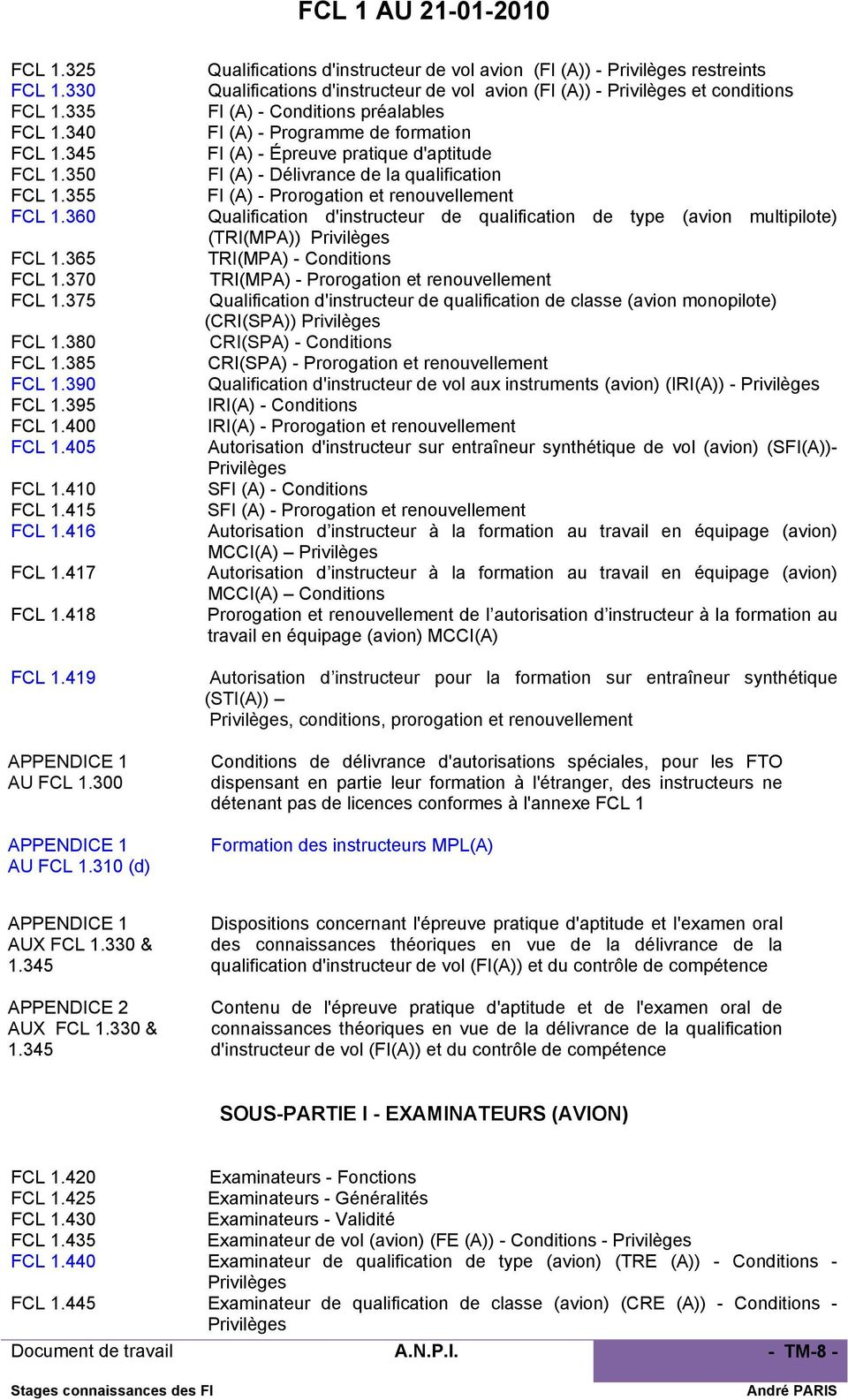 310 (d) Qualifications d'instructeur de vol avion (FI (A)) - Privilèges restreints Qualifications d'instructeur de vol avion (FI (A)) - Privilèges et conditions FI (A) - Conditions préalables FI (A)
