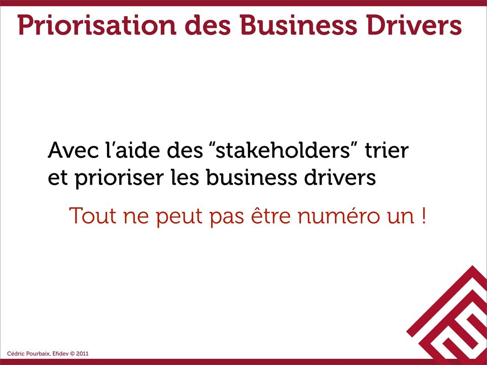 trier et prioriser les business