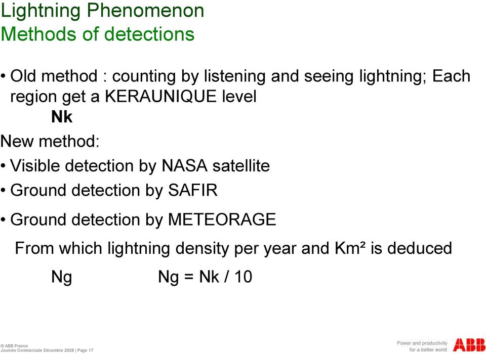 satellite Ground detection by SAFIR Ground detection by METEORAGE From which lightning