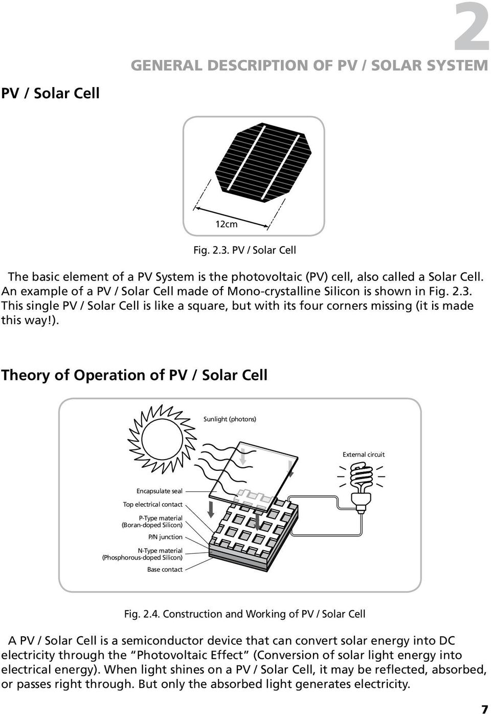 Theory of Operation of PV / Solar Cell Sunlight (photons) External circuit Encapsulate seal Top electrical contact P-Type material (Boran-doped Silicon) P/N junction N-Type material