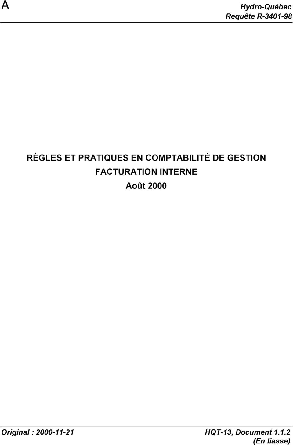 GESTION FACTURATION INTERNE Original :