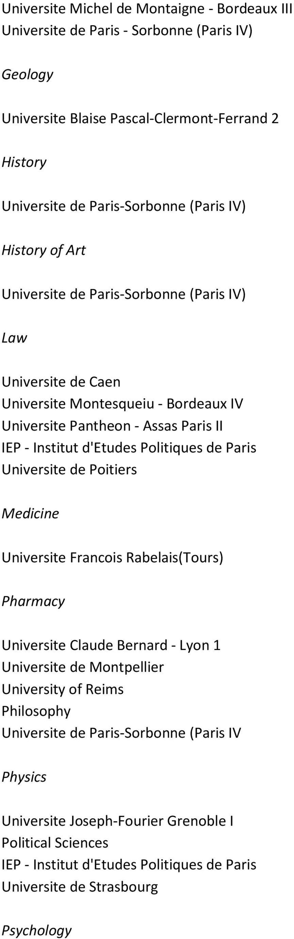 Politiques de Paris Universite de Poitiers Medicine Universite Francois Rabelais(Tours) Pharmacy Universite Claude Bernard - Lyon 1 Universite de Montpellier University of Reims