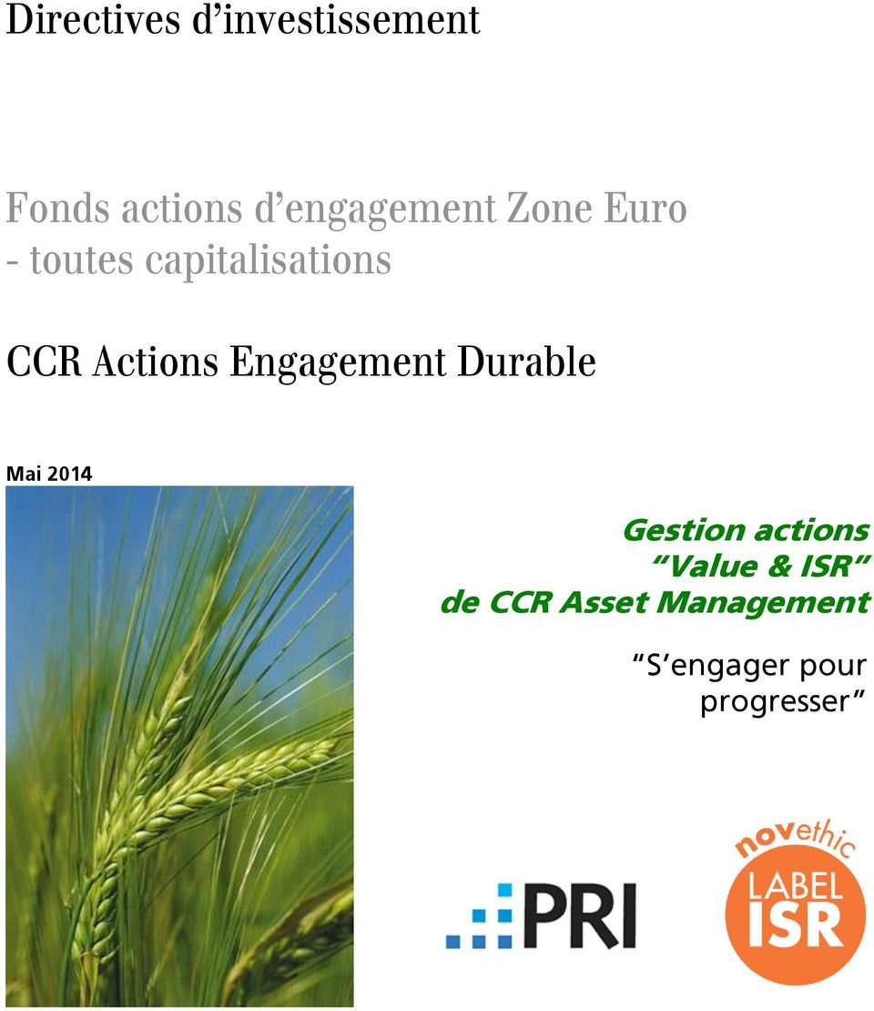 Actions Engagement Durable Mai 2014 Gestion actions