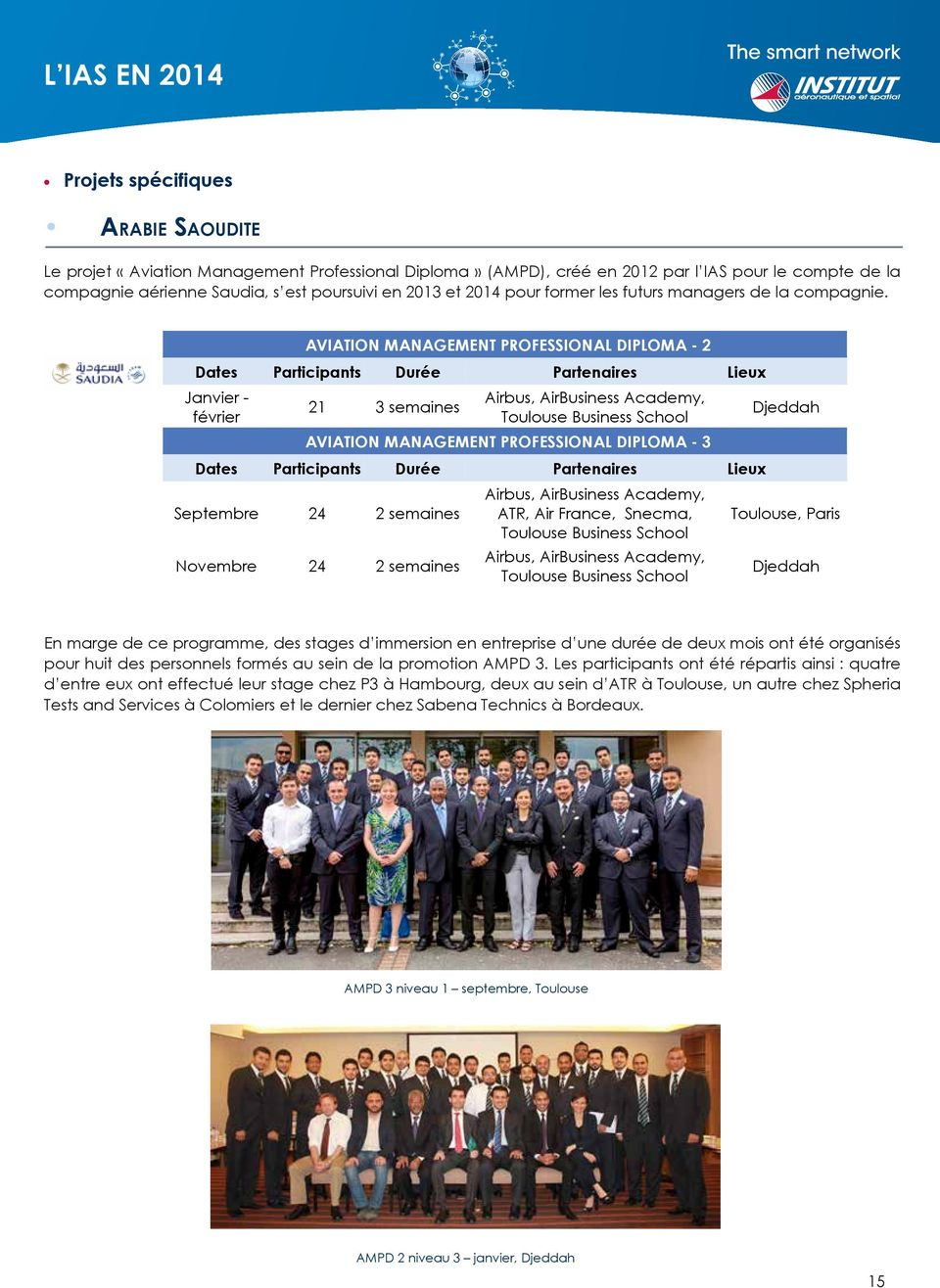 AVIATION MANAGEMENT PROFESSIONAL DIPLOMA 2 Dates Participants Durée Partenaires Lieux Janvier février Airbus, AirBusiness Academy, 21 3 semaines Toulouse Business School AVIATION MANAGEMENT