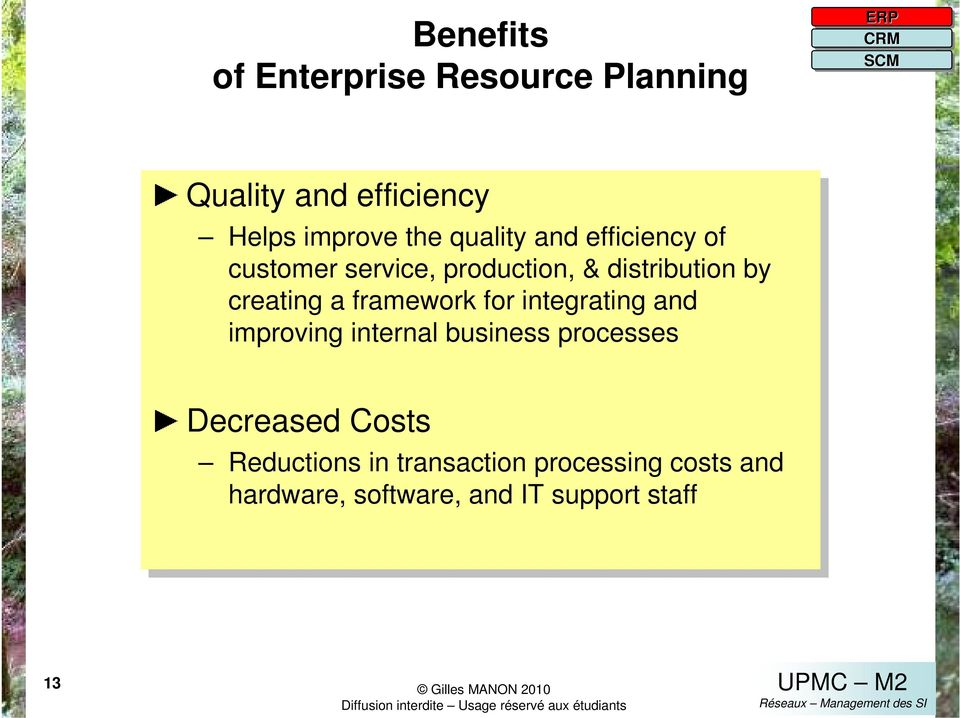 framework for for integrating and and improving internal business processes Decreased Costs