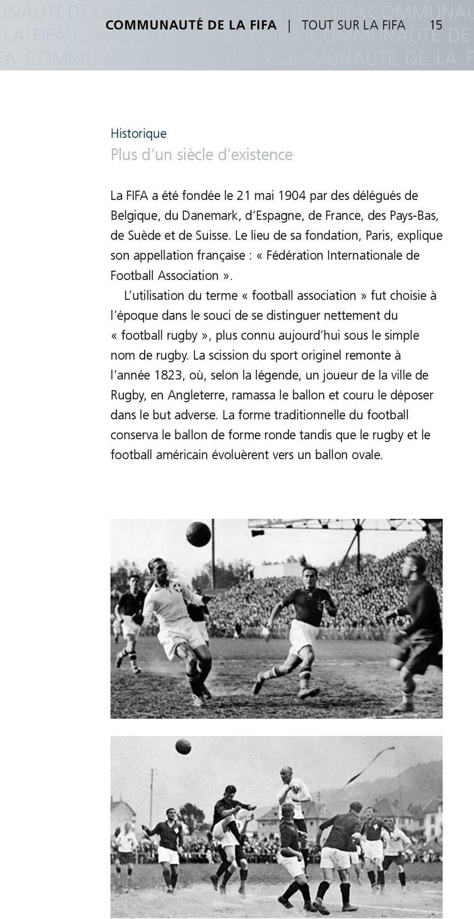 Le lieu de sa fondation, Paris, explique son appellation française : «Fédération Internationale de Football Association».