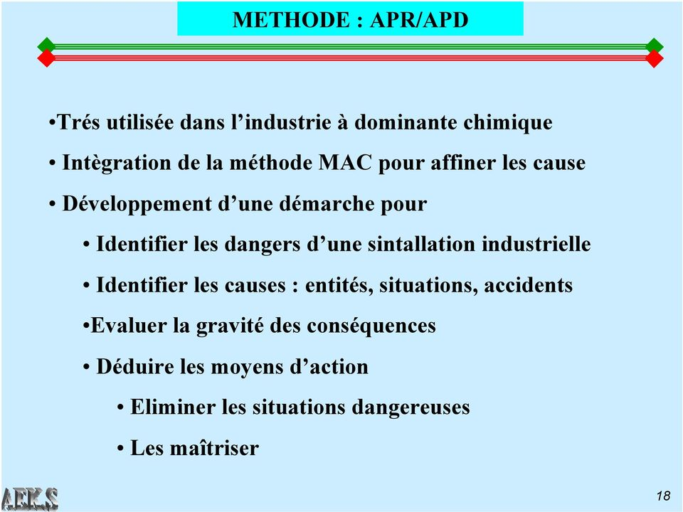 sintallation industrielle Identifier les causes : entités, situations, accidents Evaluer la