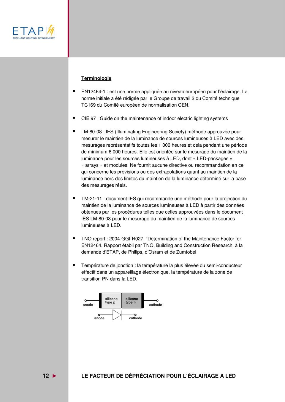 CIE 97 : Guide on the maintenance of indoor electric lighting systems LM-80-08 : IES (Illuminating Engineering Society) méthode approuvée pour mesurer le maintien de la luminance de sources