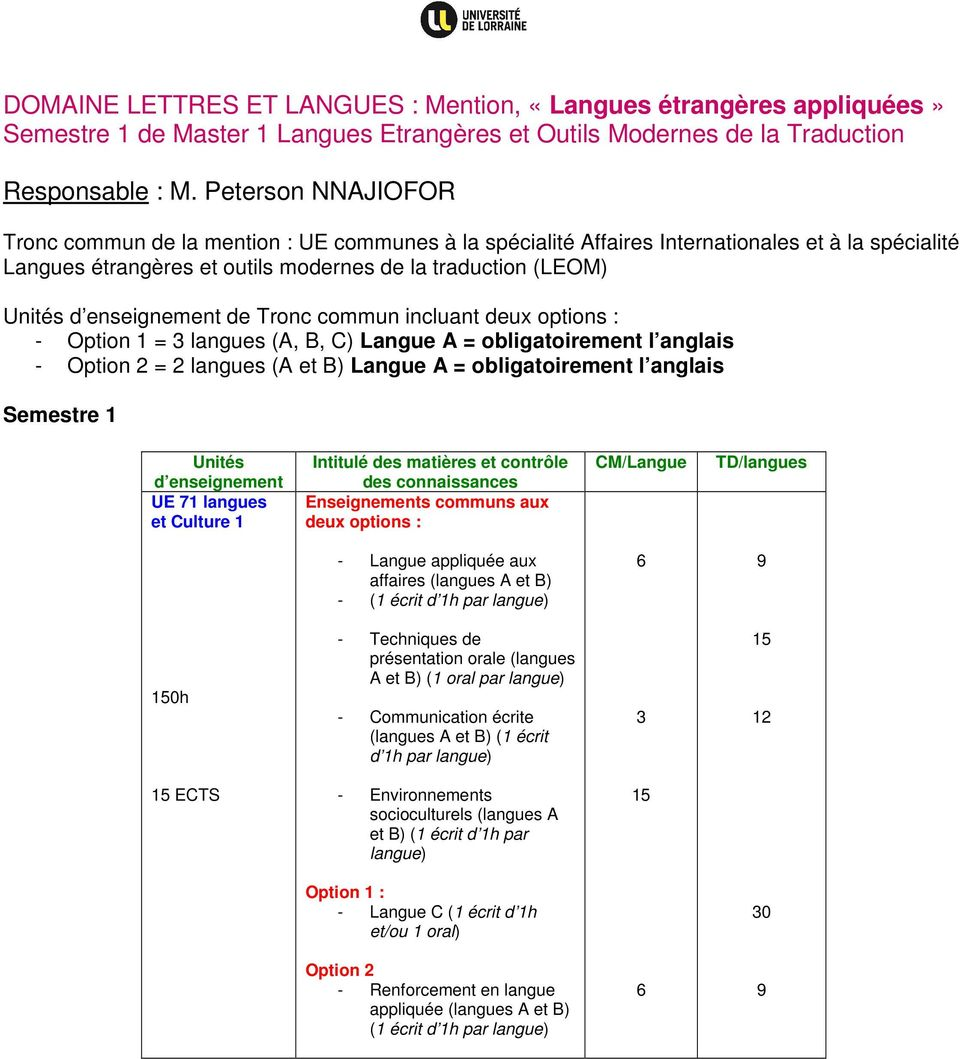 enseignement de Tronc commun incluant deux options : - Option 1 = 3 langues (A, B, C) Langue A = obligatoirement l anglais - Option 2 = 2 langues (A et B) Langue A = obligatoirement l anglais