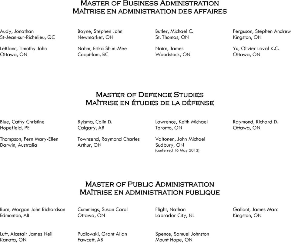 C. Master of Defence Studies Maîtrise en études de la défense Blue, Cathy Christine Hopefield, PE Bylsma, Colin D. Calgary, AB Lawrence, Keith Michael Toronto, ON Raymond, Richard D.