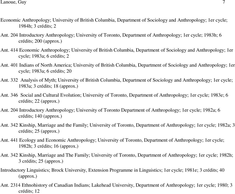 414 Economic Anthropology; University of British Columbia, Department of Sociology and Anthropology; 1er cycle; 1983a; 6 crédits; 2 Ant.