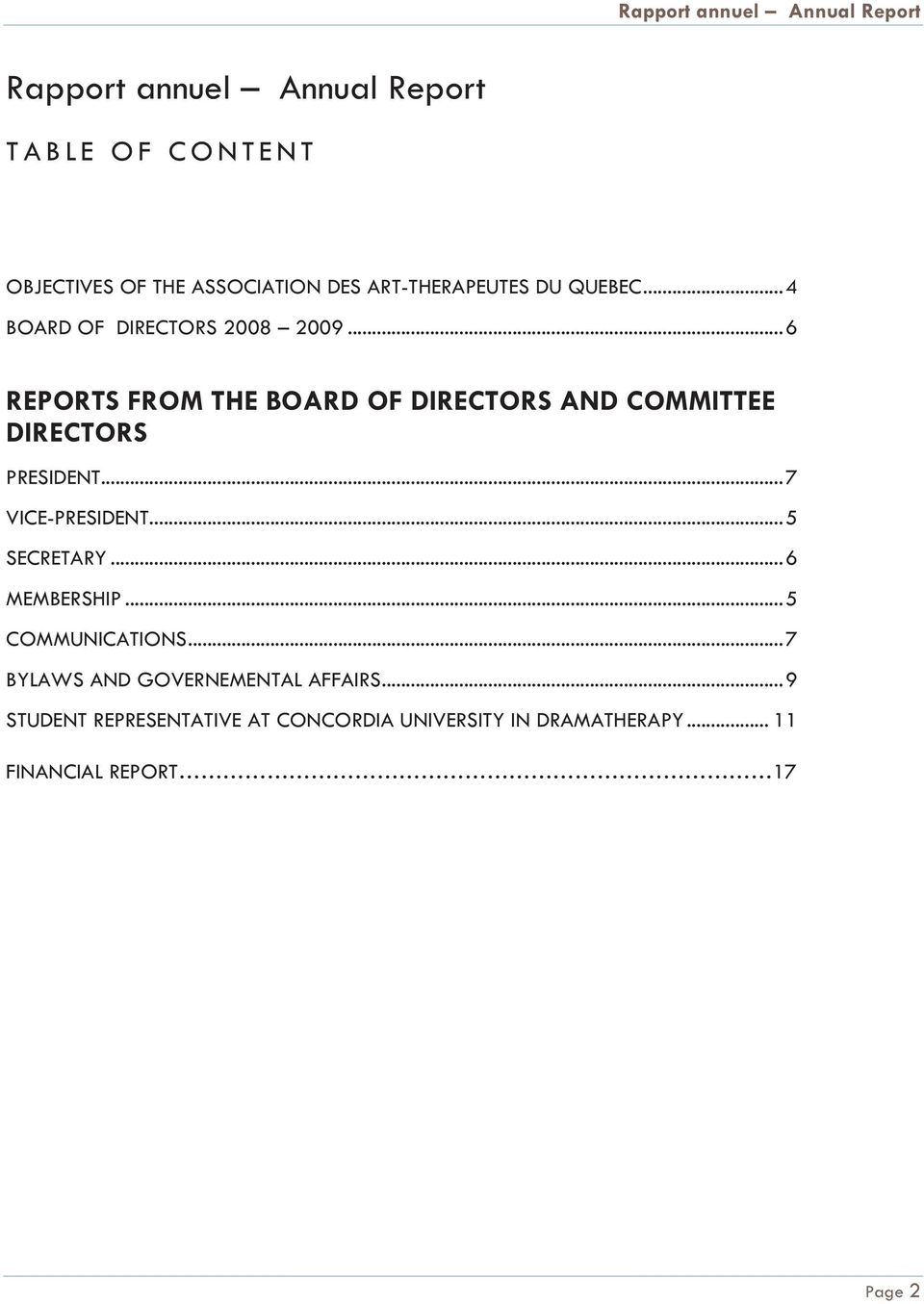 .. 6 REPORTS FROM THE BOARD OF DIRECTORS AND COMMITTEE DIRECTORS PRESIDENT... 7 VICE-PRESIDENT... 5 SECRETARY.