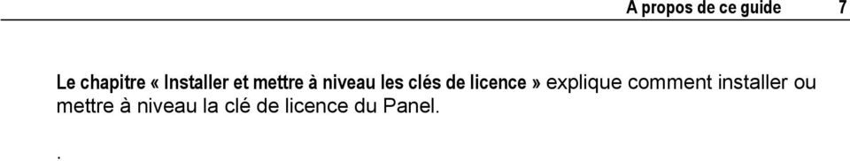 de licence» explique comment installer