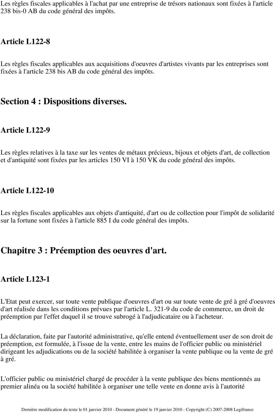 Section 4 : Dispositions diverses.