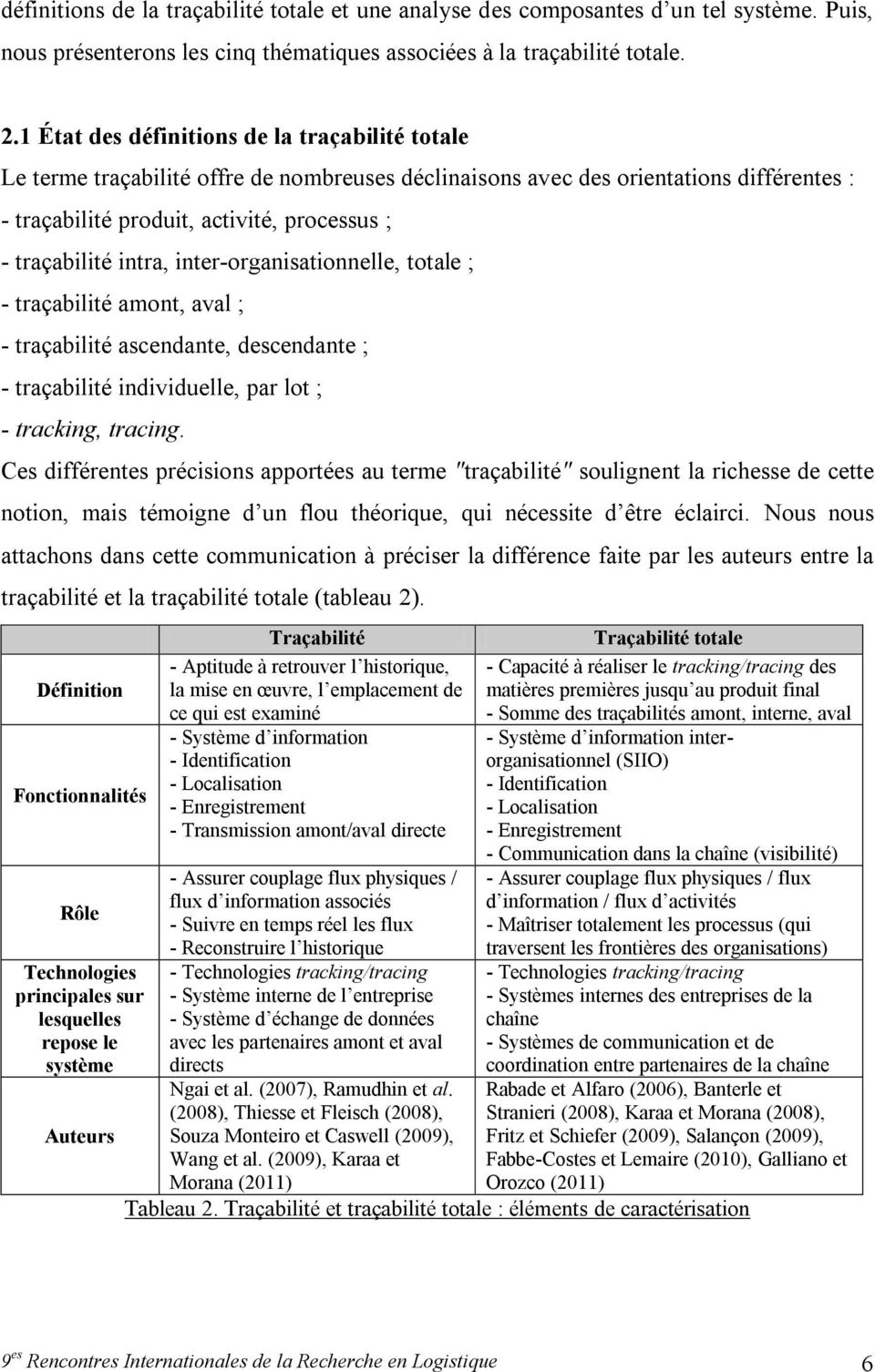 intra, inter-organisationnelle, totale ; - traçabilité amont, aval ; - traçabilité ascendante, descendante ; - traçabilité individuelle, par lot ; - tracking, tracing.