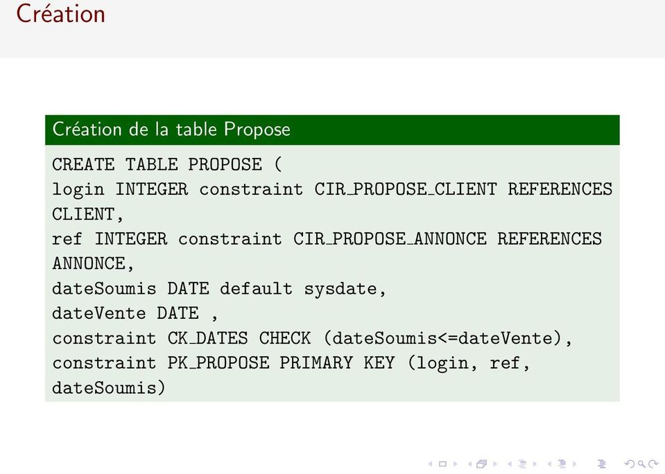 REFERENCES ANNONCE, datesoumis DATE default sysdate, datevente DATE, constraint CK