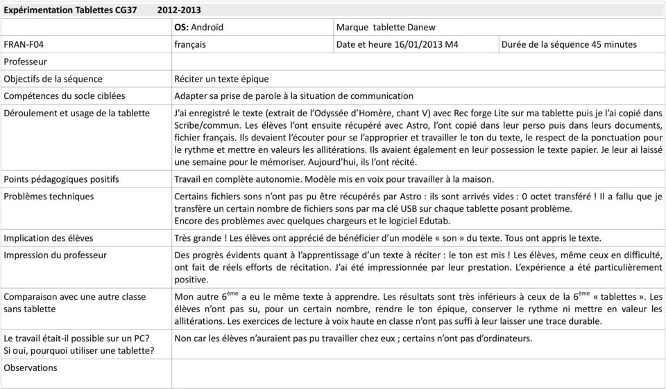 Observations Réciter un texte épique Adapter sa prise de parole à la situation de communication J ai enregistré le texte (extrait de l Odyssée d Homère, chant V) avec Rec forge Lite sur ma tablette