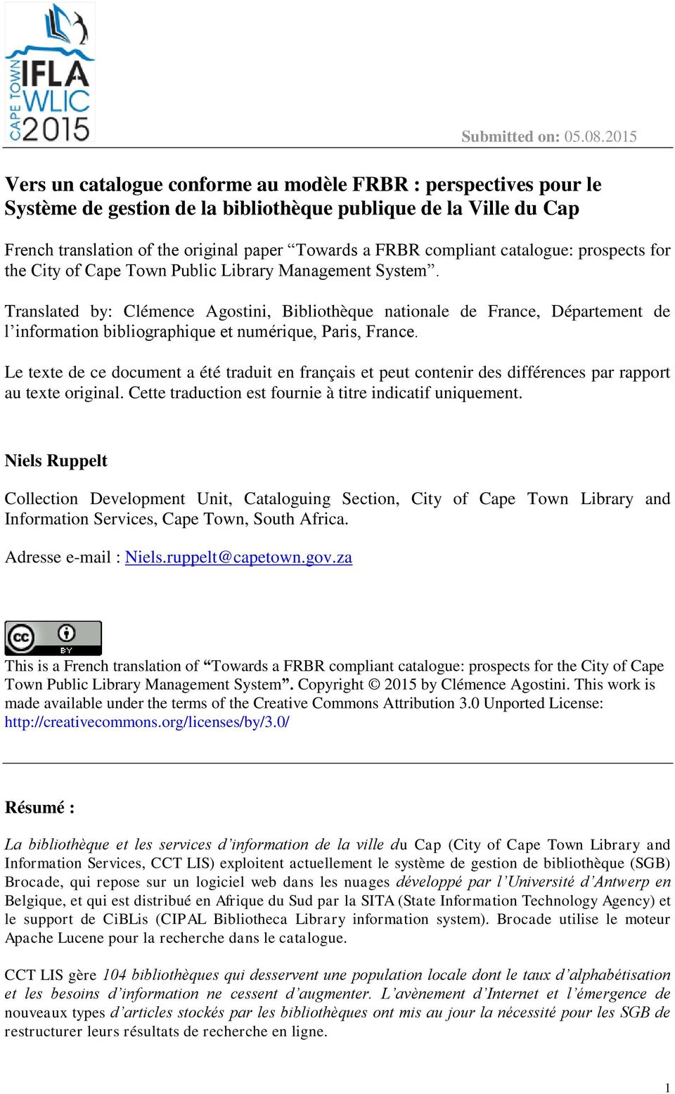 compliant catalogue: prospects for the City of Cape Town Public Library Management System.