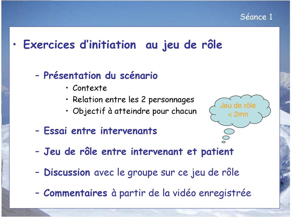 2mn Essai entre intervenants Jeu de rôle entre intervenant et patient Discussion