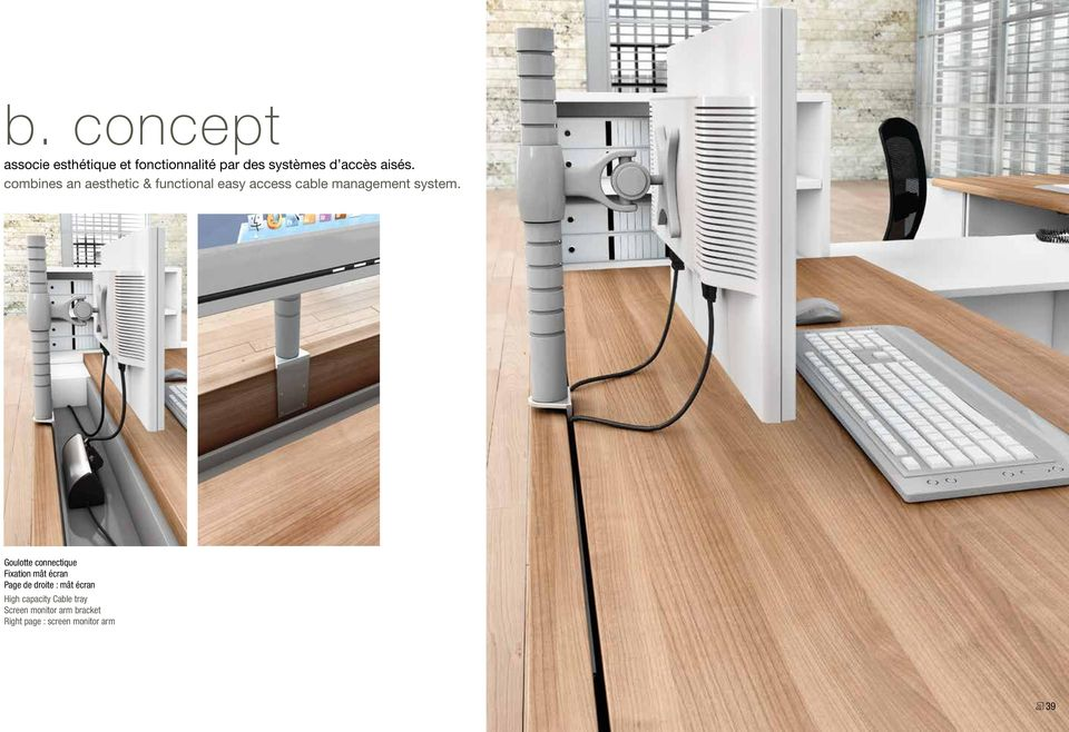 combines an aesthetic & functional easy access cable management system.