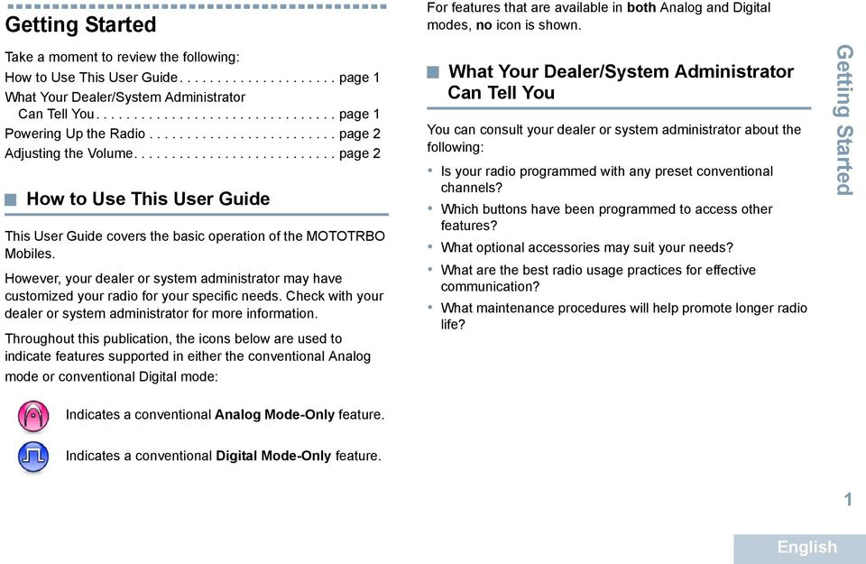.......................... page 2 How to Use This User Guide This User Guide covers the basic operation of the MOTOTRBO Mobiles.