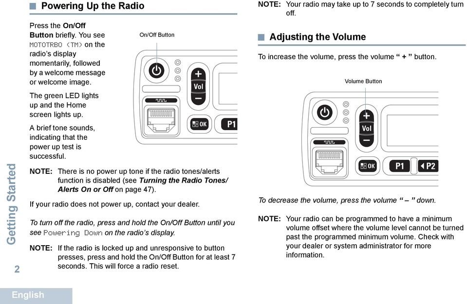 On/Off Button NOTE: Your radio may take up to 7 seconds to completely turn off. Adjusting the Volume To increase the volume, press the volume + button.