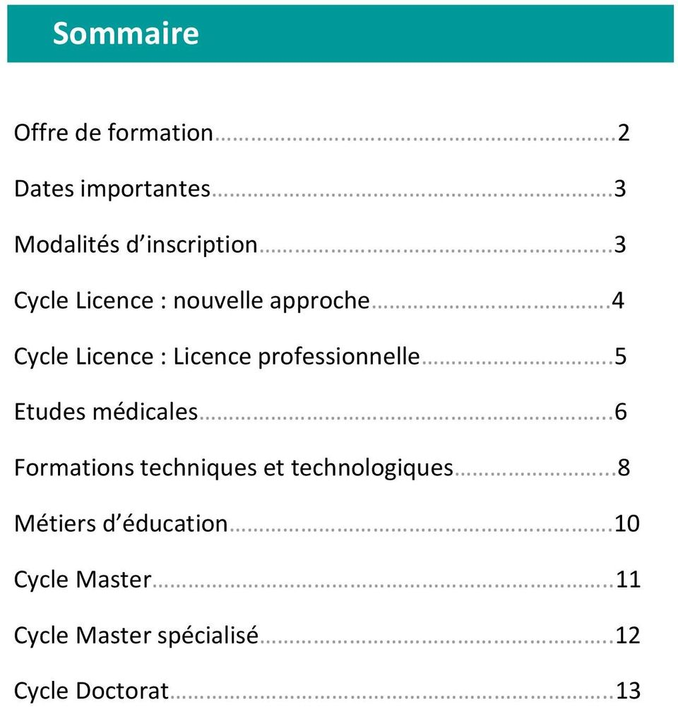 4 Cycle Licence : Licence professionnelle..5 Etudes médicales.