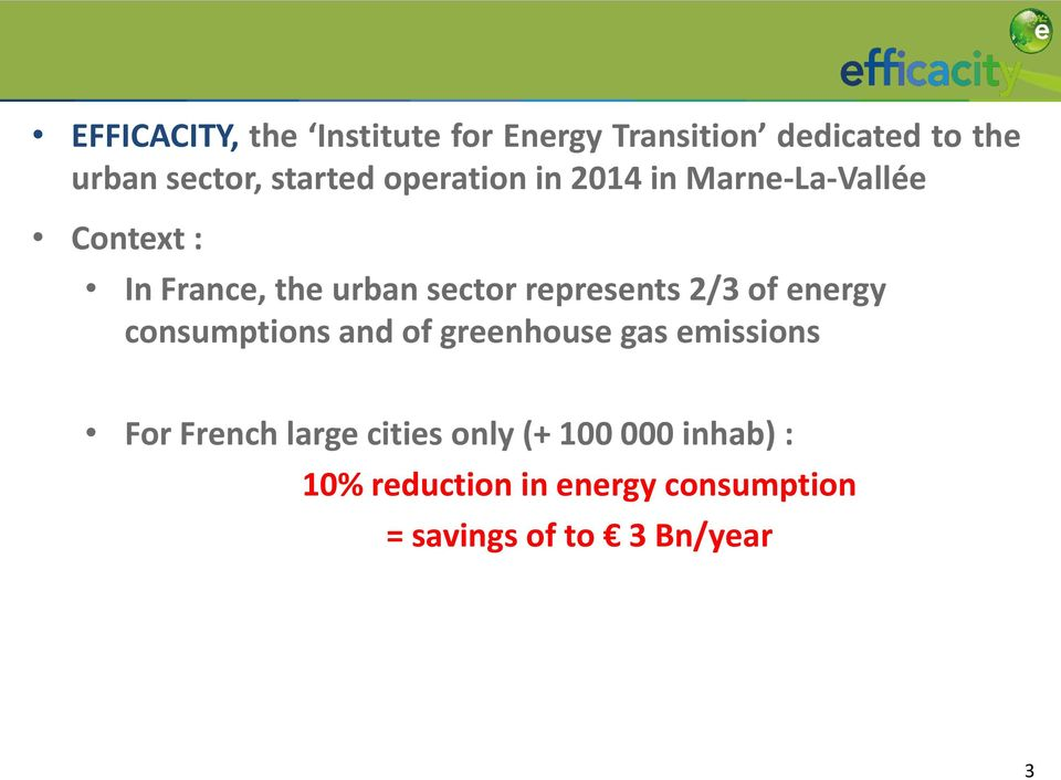 represents 2/3 of energy consumptions and of greenhouse gas emissions For French