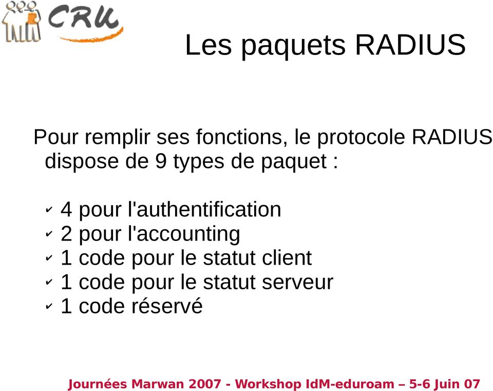 l'authentification 2 pour l'accounting 1 code pour le