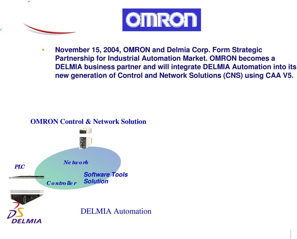 OMRON becomes a DELMIA business partner and will integrate DELMIA Automation into its