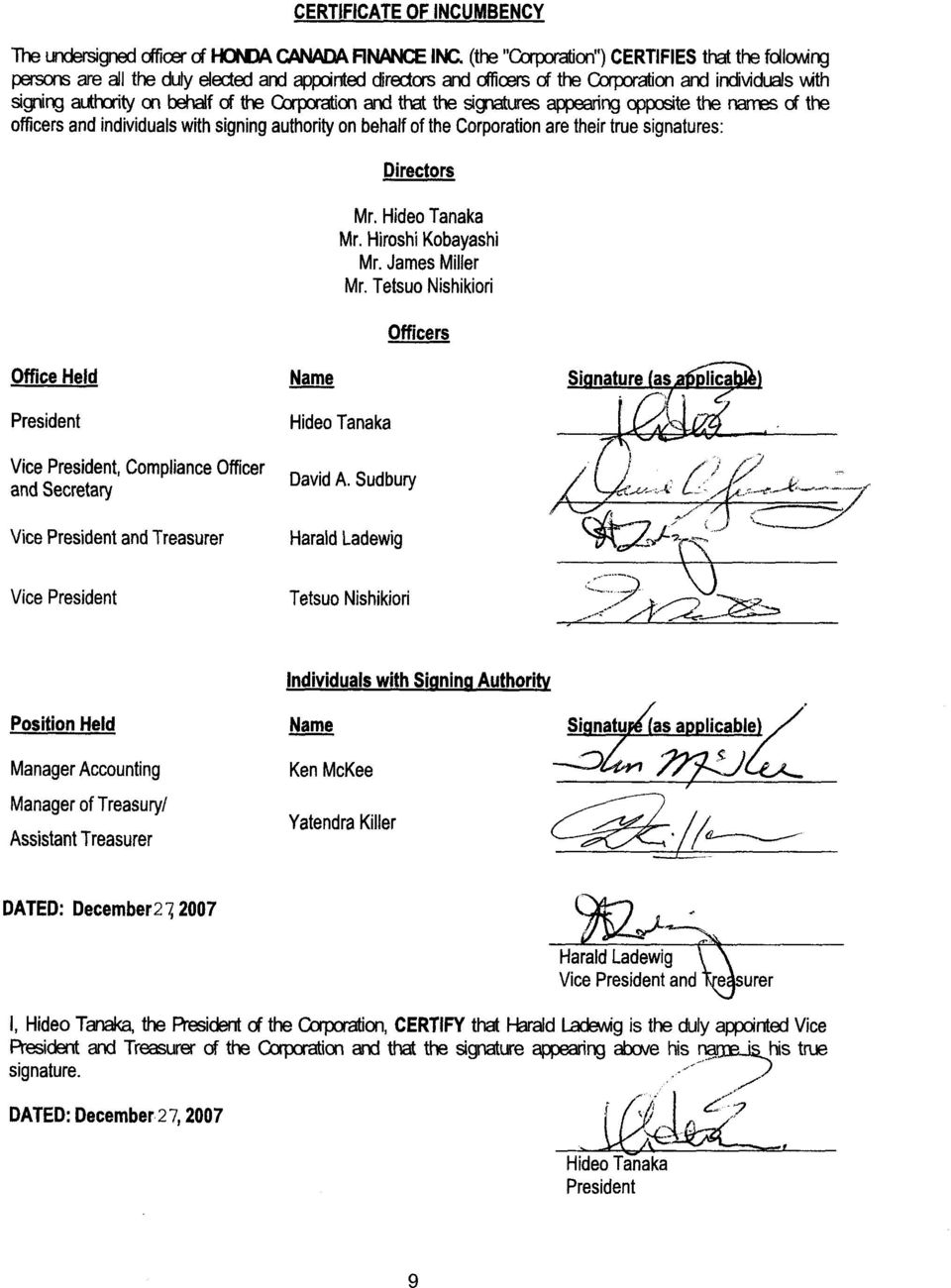 Qrporation and that the signatures appearing opposite the names of the officers and individuals with signing authority on behalf of the Corporation are their true signatures: Directors Mr.