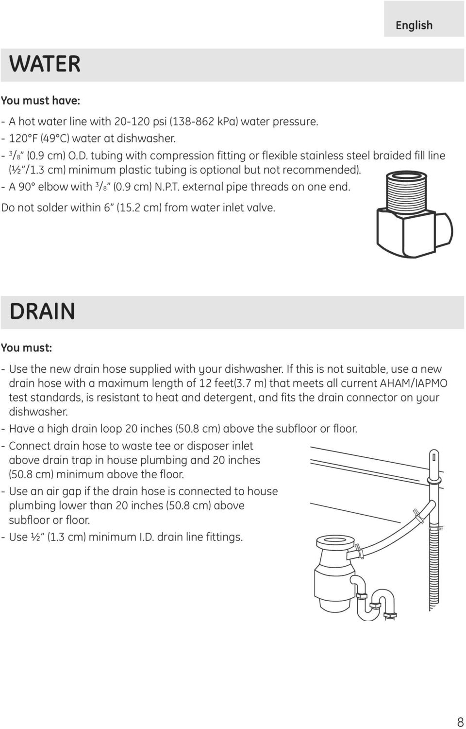 external pipe threads on one end. Do not solder within 6 (15.2 cm) from water inlet valve. DRAIN You must: - Use the new drain hose supplied with your dishwasher.