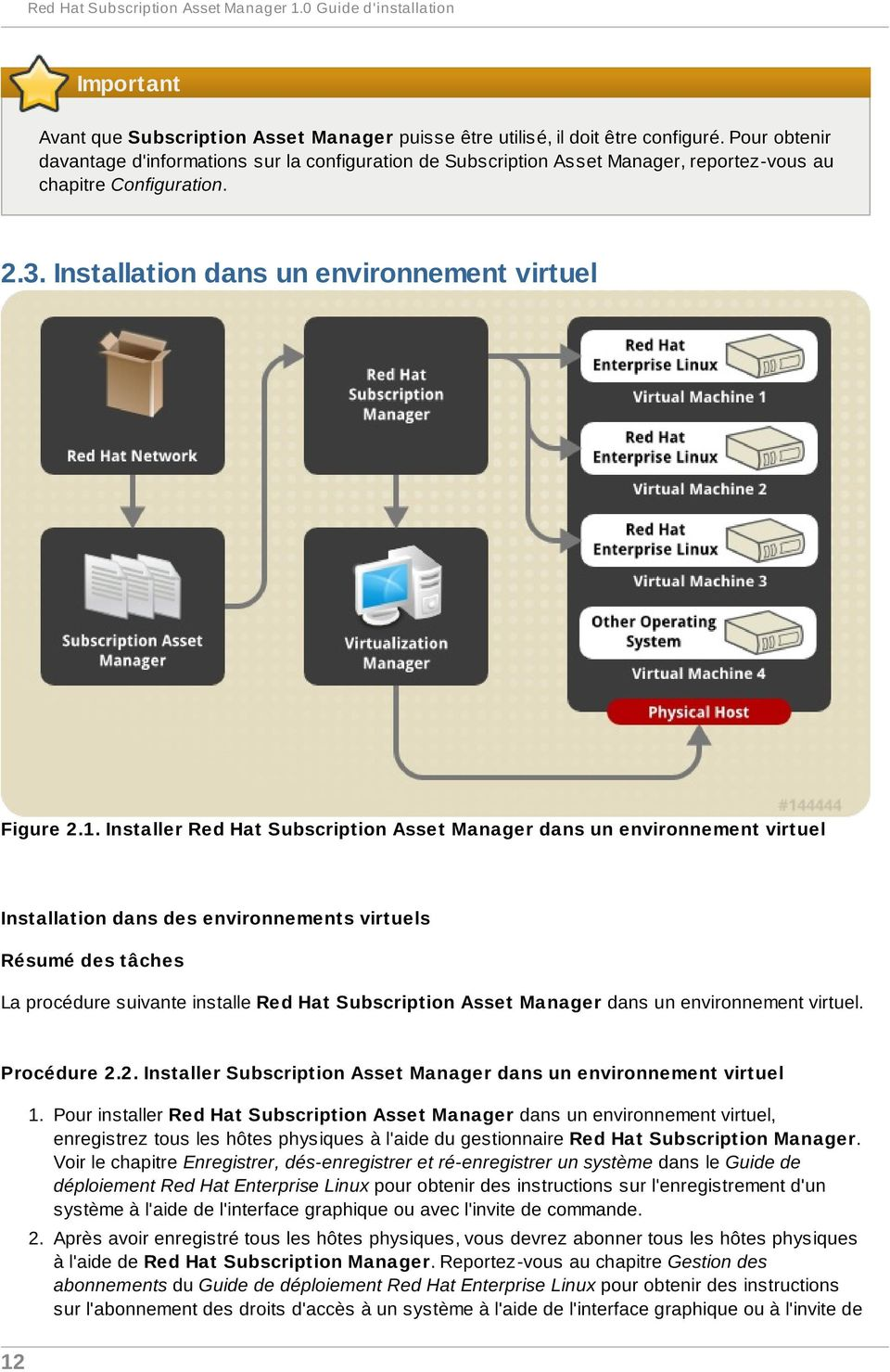 Installer Red Hat Subscription Asset Manager dans un environnement virtuel Installation dans des environnements virtuels La procédure suivante installe Red Hat Subscription Asset Manager dans un