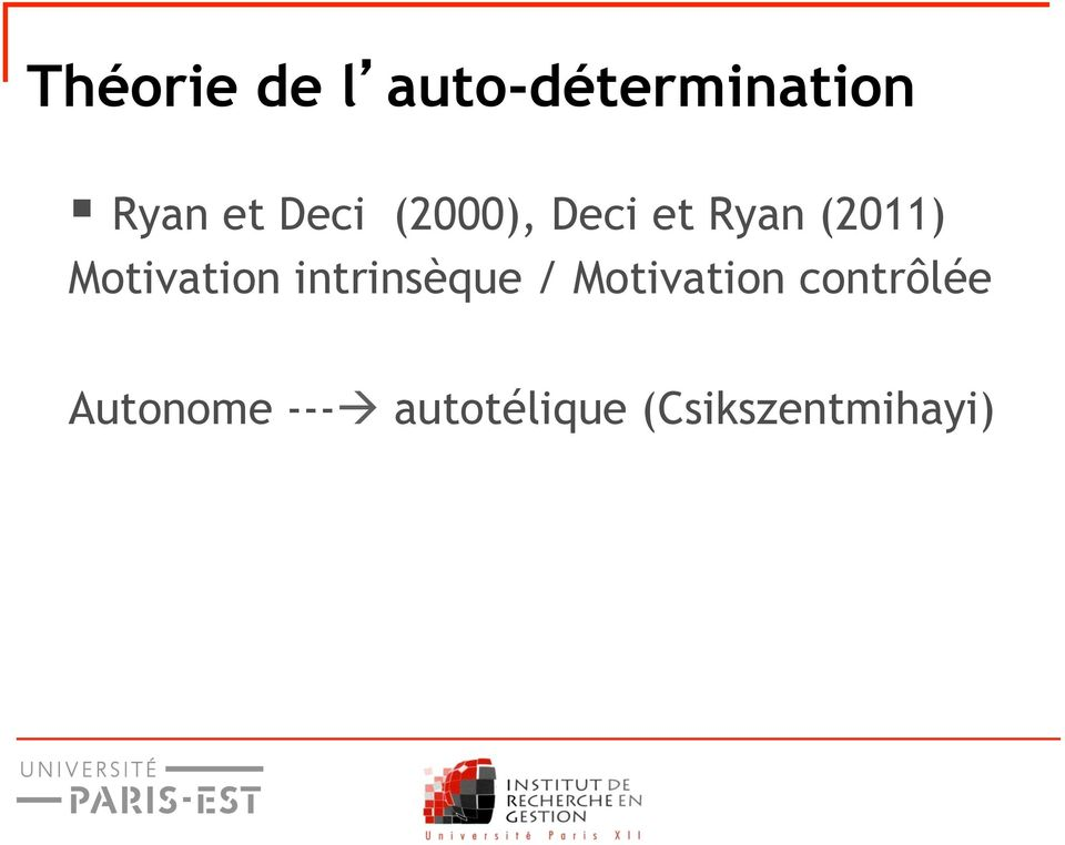 Motivation intrinsèque / Motivation