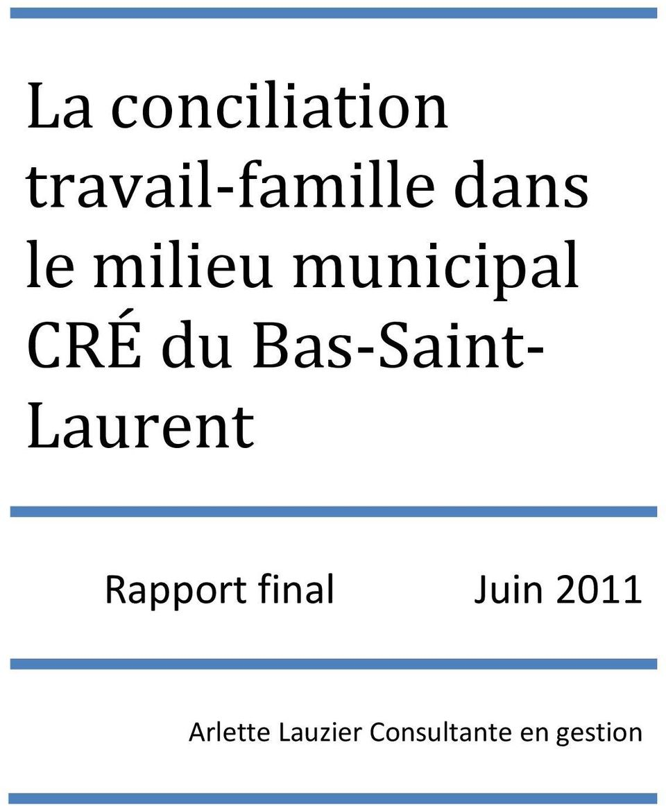 Bas-Saint- Laurent Rapport final