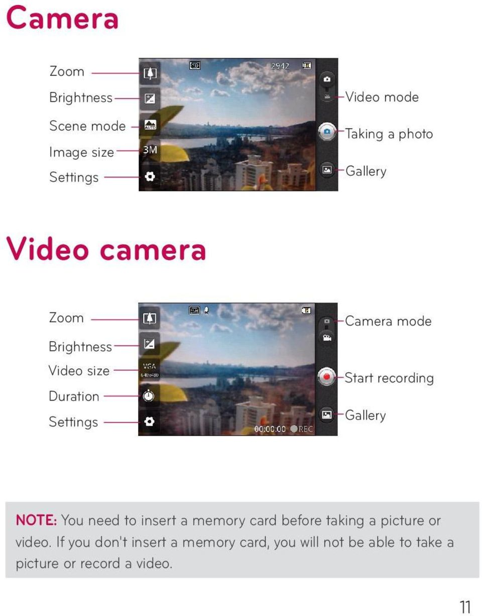 Gallery NOTE: You need to insert a memory card before taking a picture or video.