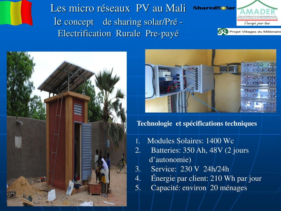 Modules Solaires: 1400 Wc 2. Batteries: 350 Ah, 48V (2 jours d autonomie) 3.