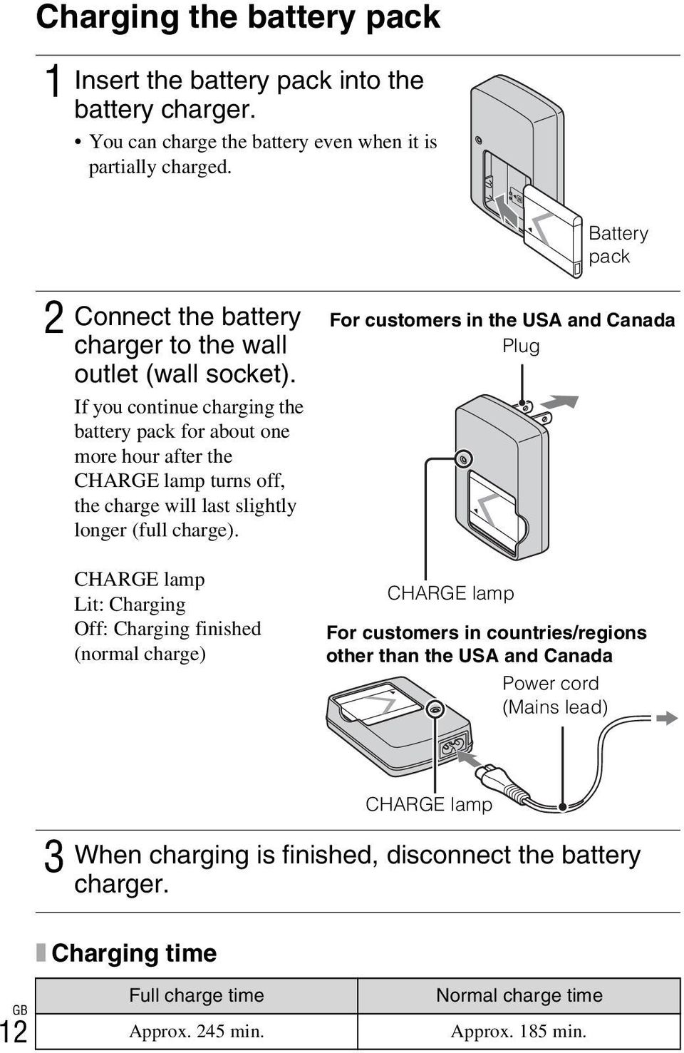 If you continue charging the battery pack for about one more hour after the CHARGE lamp turns off, the charge will last slightly longer (full charge).