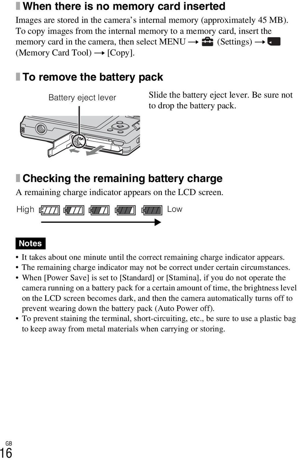 x To remove the battery pack Battery eject lever Slide the battery eject lever. Be sure not to drop the battery pack.