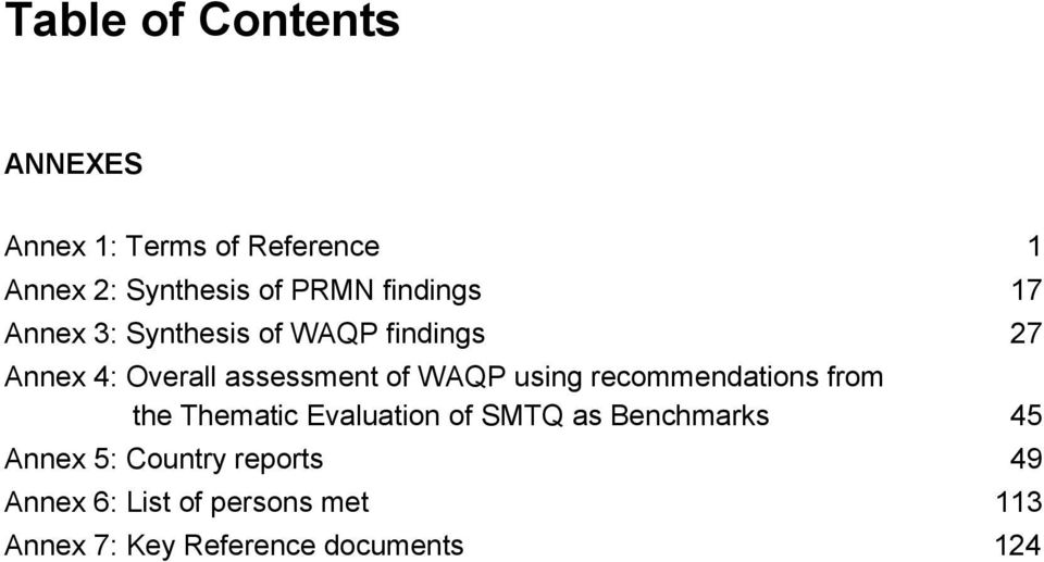 WAQP using recommendations from the Thematic Evaluation of SMTQ as Benchmarks 45