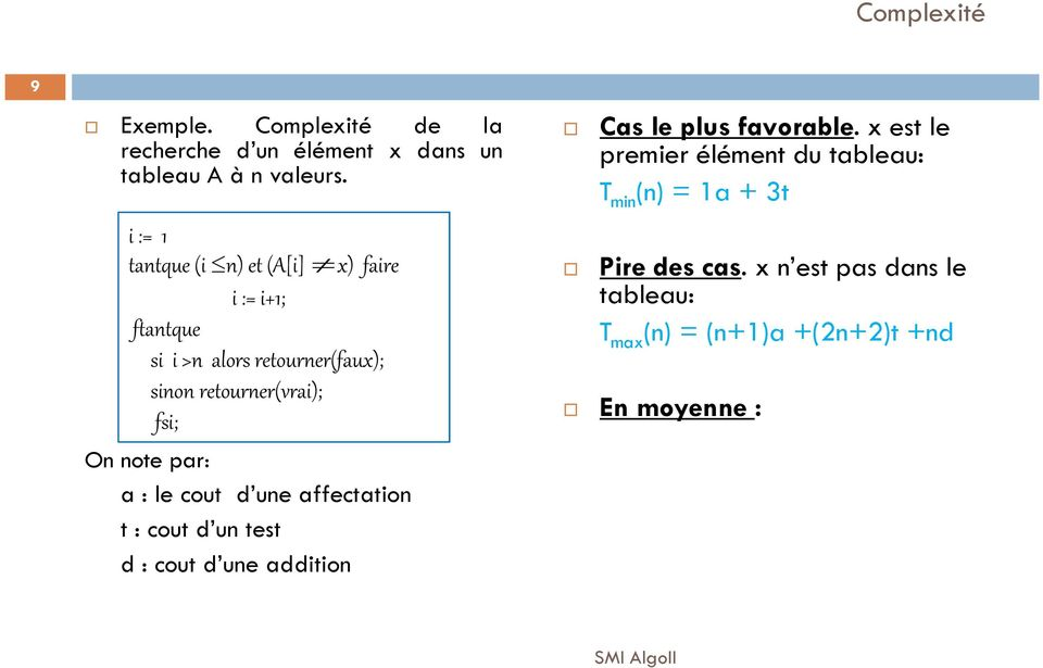fsi; On note par: a : le cout d une affectation t : cout d un test d : cout d une addition Cas le plus favorable.