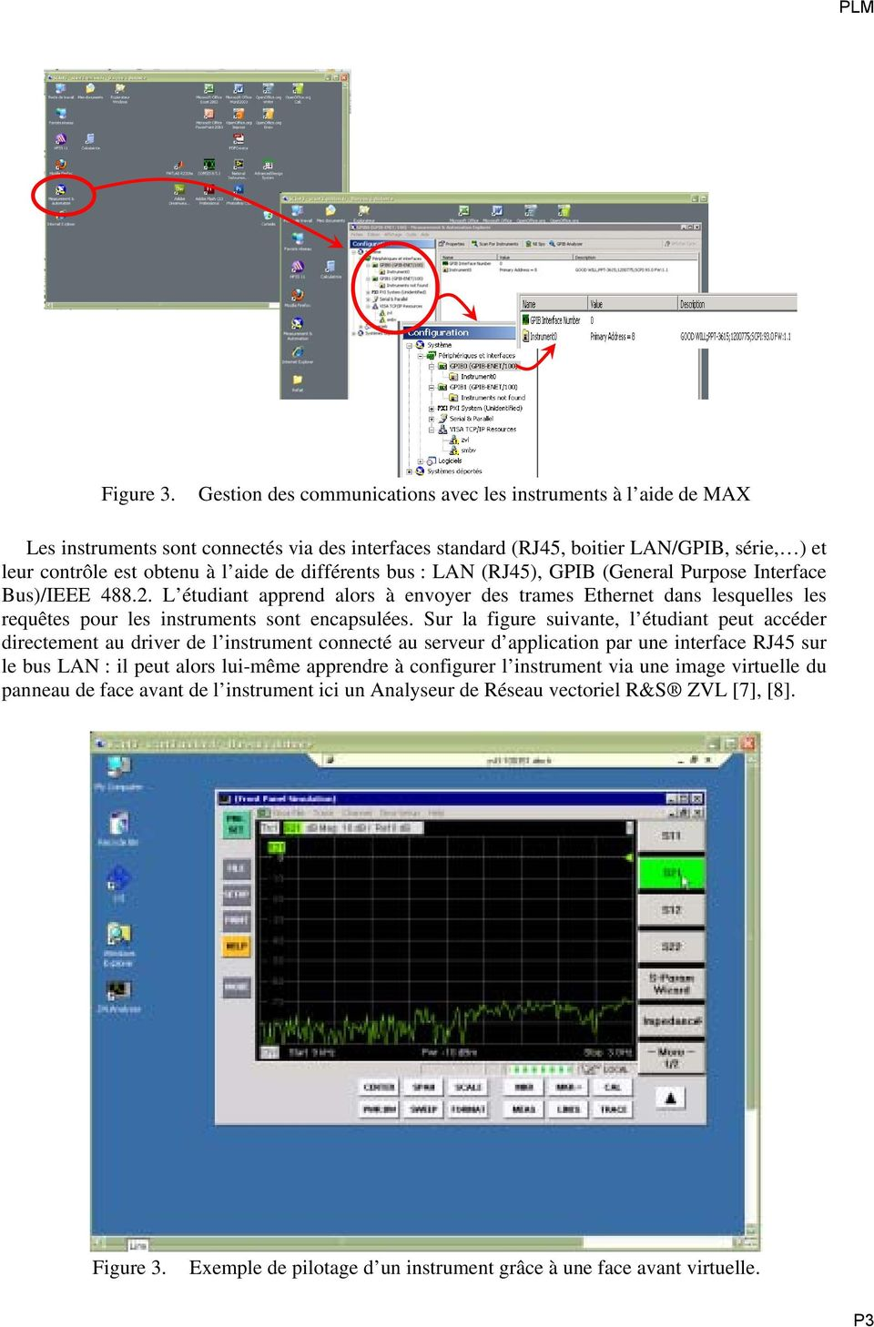différents bus : LAN (RJ45), GPIB (General Purpose Interface Bus)/IEEE 488.2. L étudiant apprend alors à envoyer des trames Ethernet dans lesquelles les requêtes pour les instruments sont encapsulées.