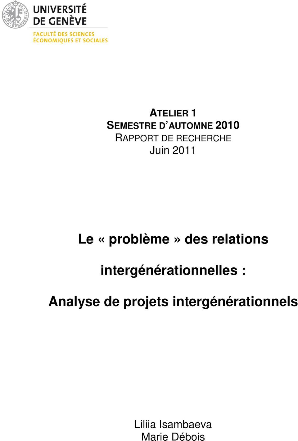 relations intergénérationnelles : Analyse de