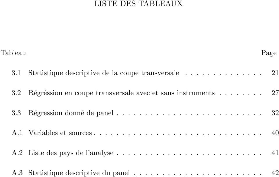 ......................... 32 A.1 Variables et sources.............................. 40 A.