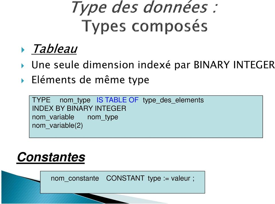 type_des_elements INDEX BY BINARY INTEGER nom_variable
