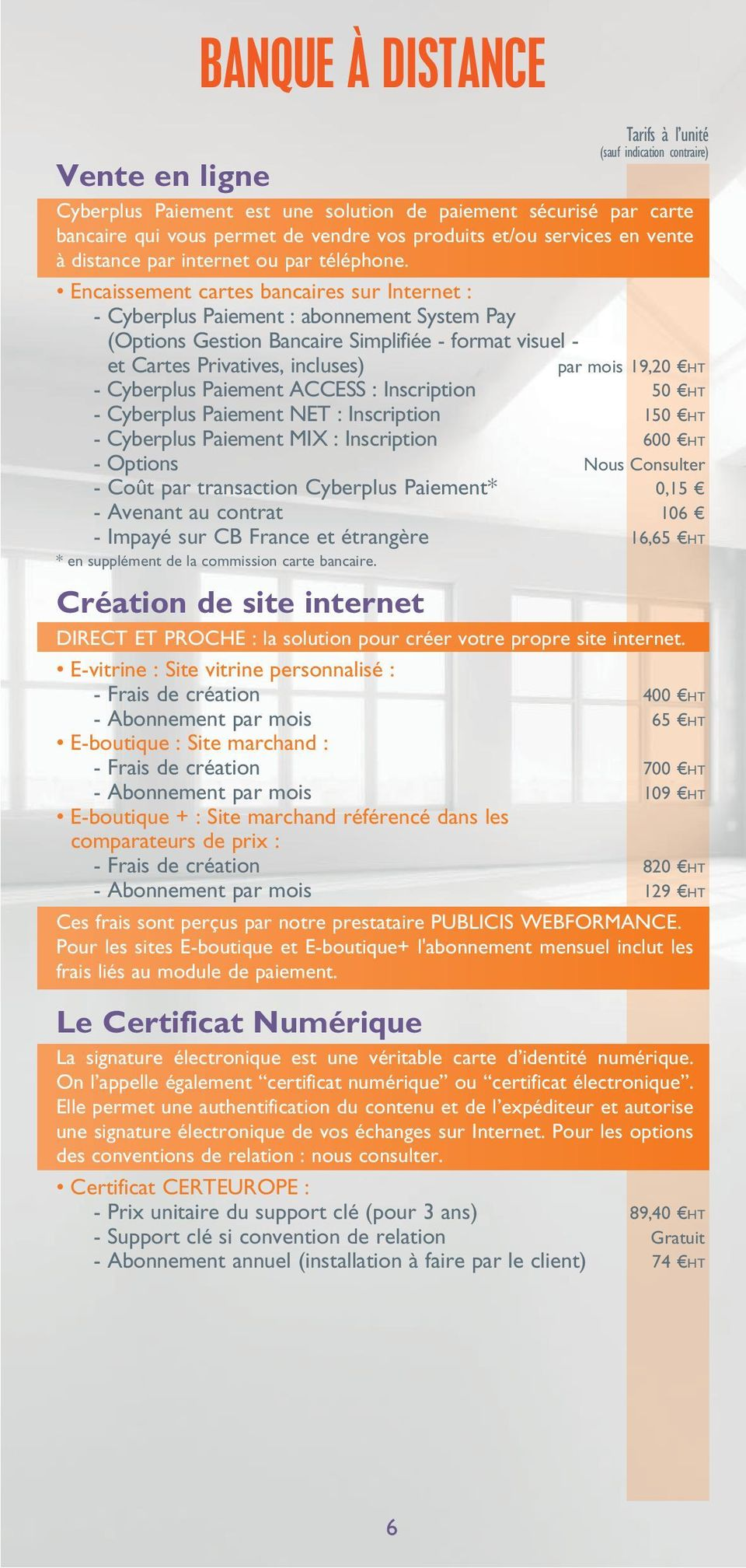 Encaissement cartes bancaires sur Internet : - Cyberplus Paiement : abonnement System Pay (Options Gestion Bancaire Simplifiée - format visuel - et Cartes Privatives, incluses) par mois 19,20 HT -